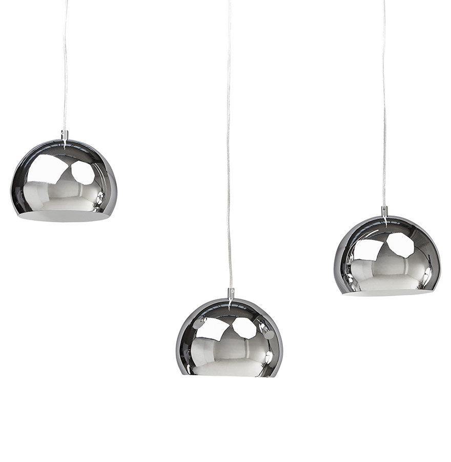 Suspension triple boule pendul chrom es lustre design for Lustre suspension triple