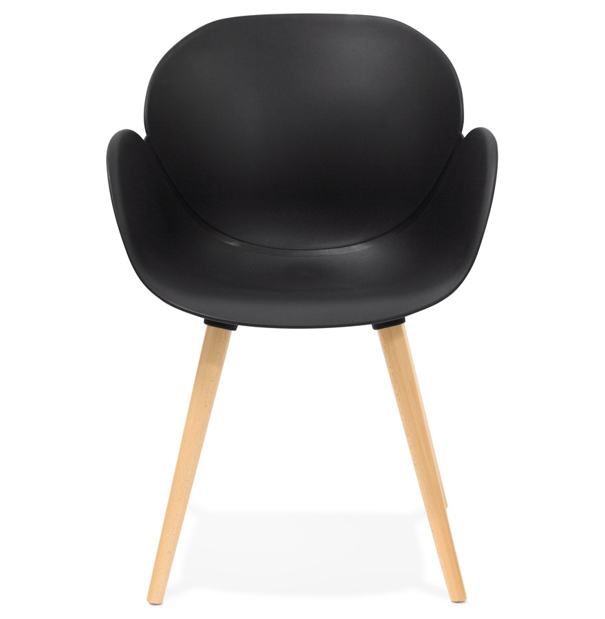 Chaise design scandinave ´PICATA´ noire avec pieds en bois