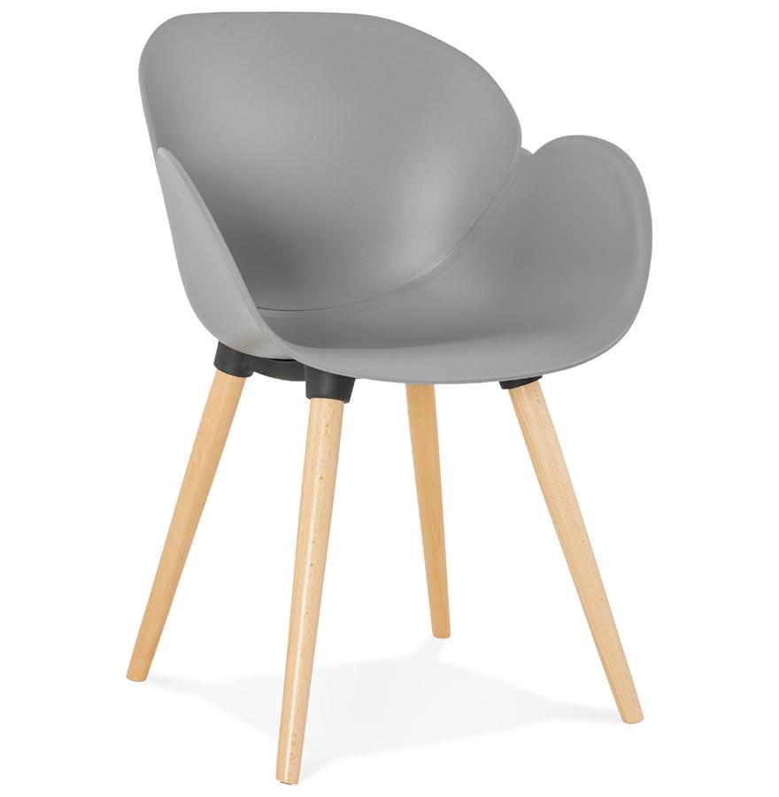 Chaise design scandinave picata grise avec pieds en bois for Chaise grise pied bois