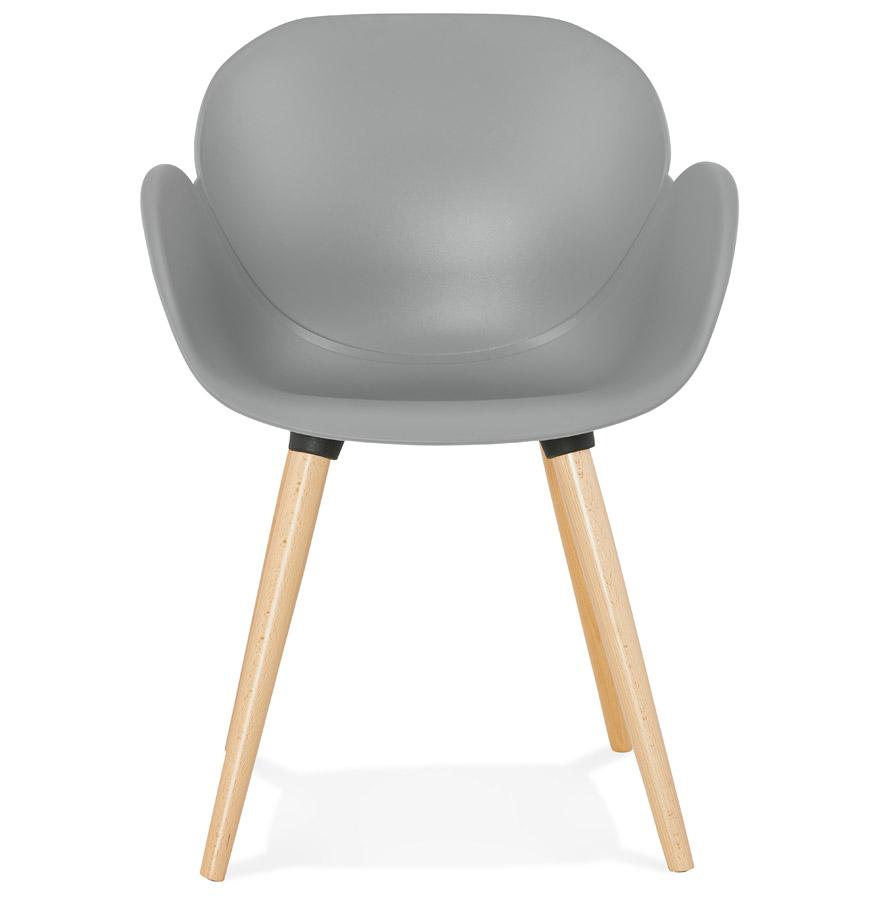 Chaise design scandinave ´PICATA´ grise avec pieds en bois
