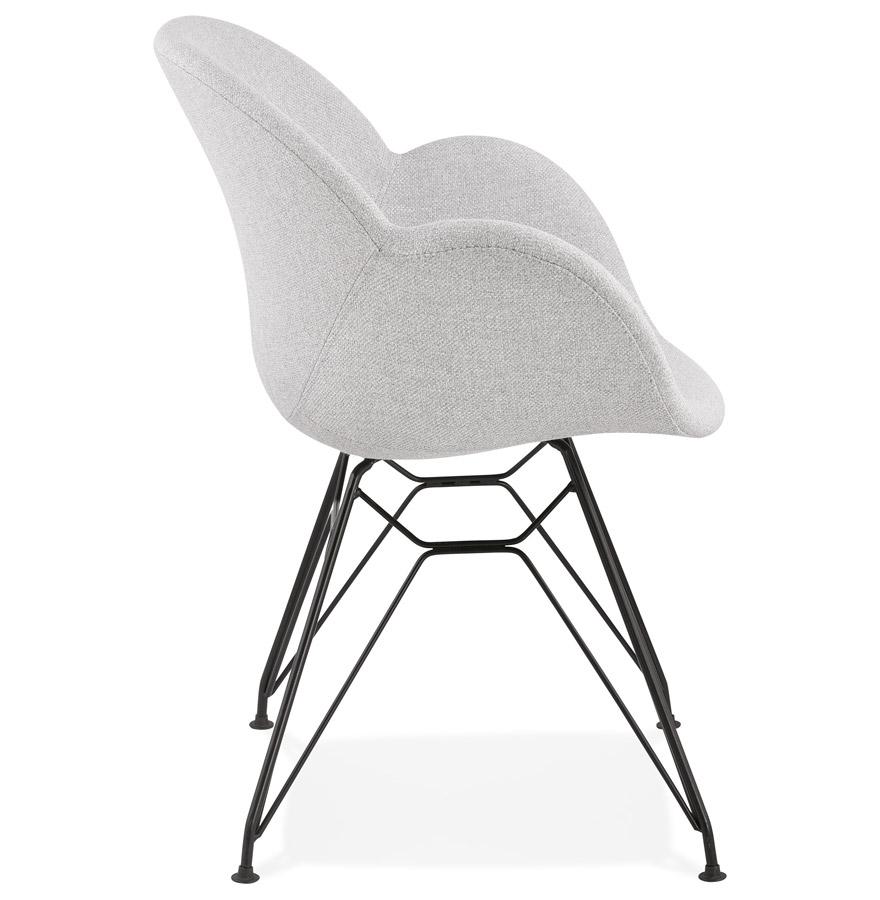 Chaise design ´PLANET´ en tissu gris clair avec pieds en métal noir