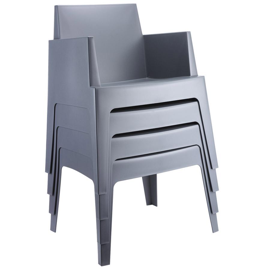 Donkergrijze design stoel plemo moderne tuinstoel - Stoel met armleuningen senior ...