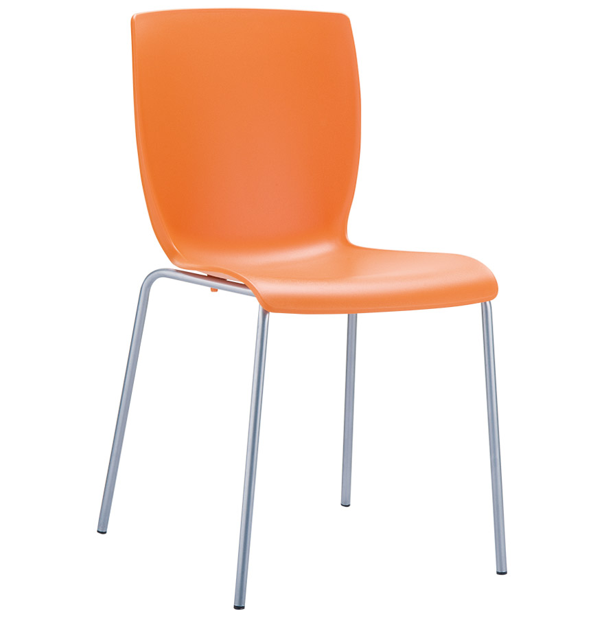 Chaise design plez chaise de cuisine orange en mati re for Chaise cuisine plastique