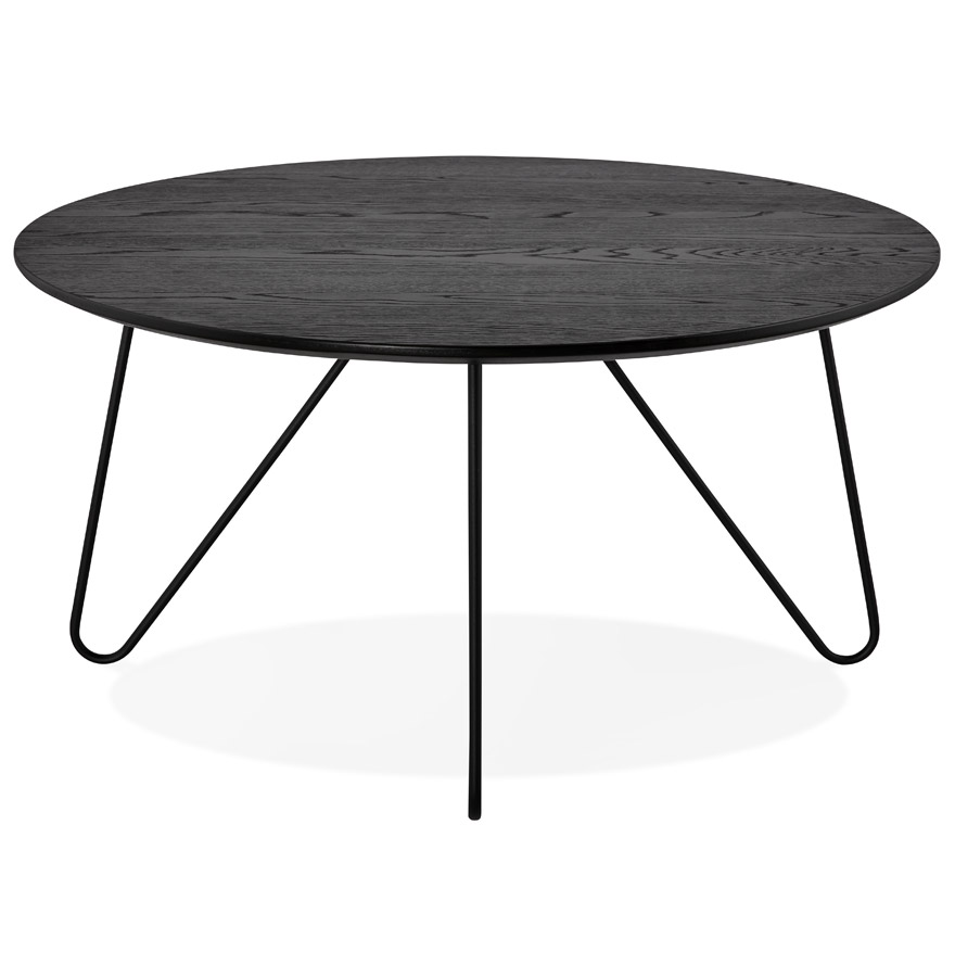 Table basse de salon pluto noire style industriel table for Table basse style usine