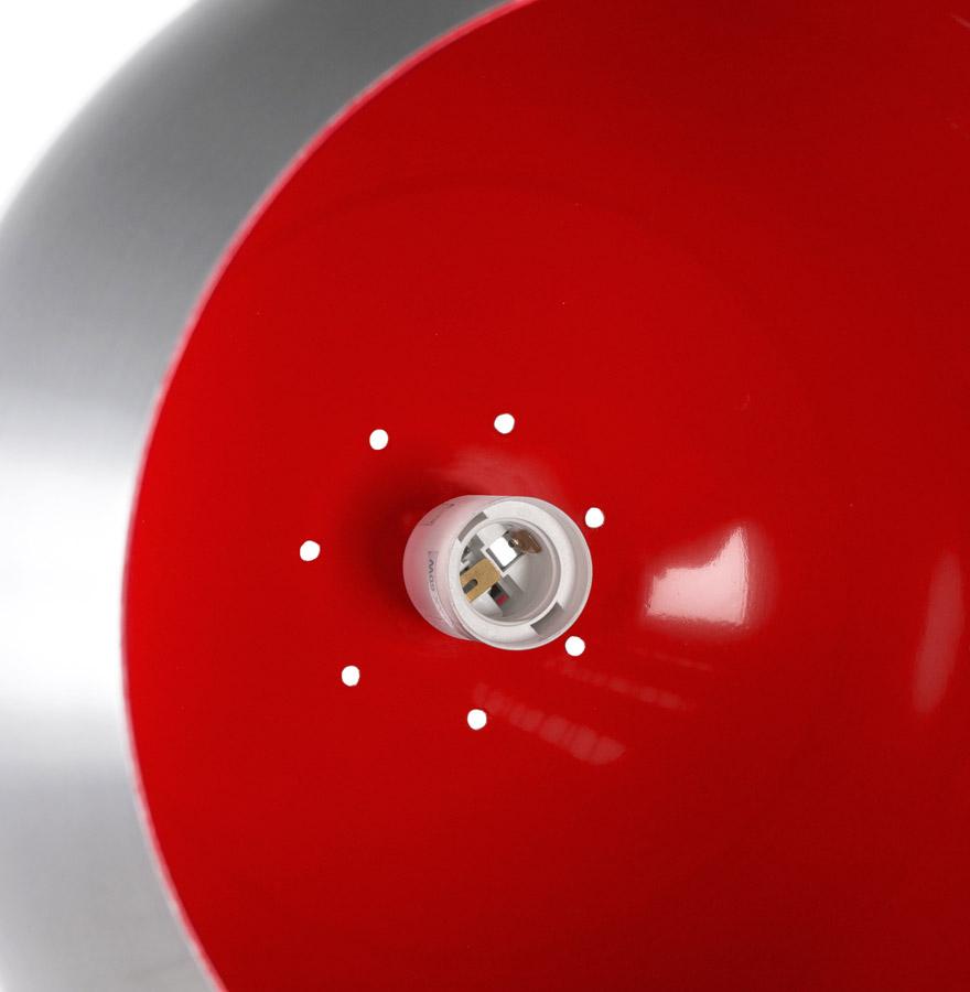 Suspension boule design ´POGO´ en aluminium brossé et intérieur rouge