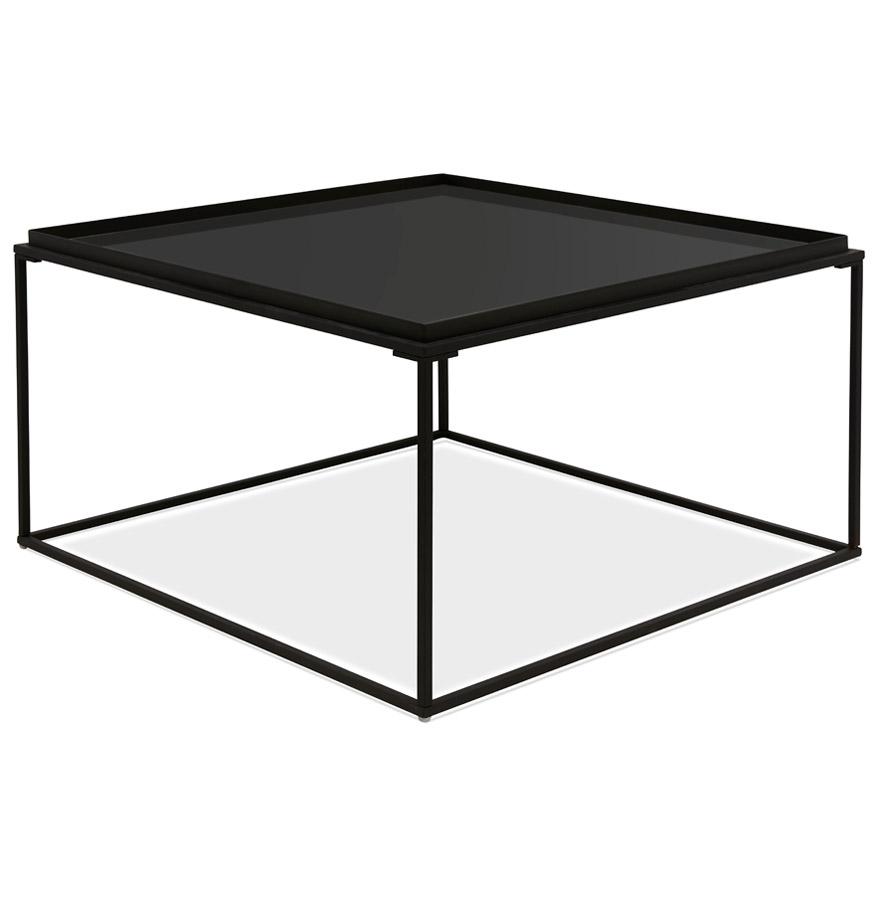 Table basse de salon ´POKER´ noire avec plateau en verre peint