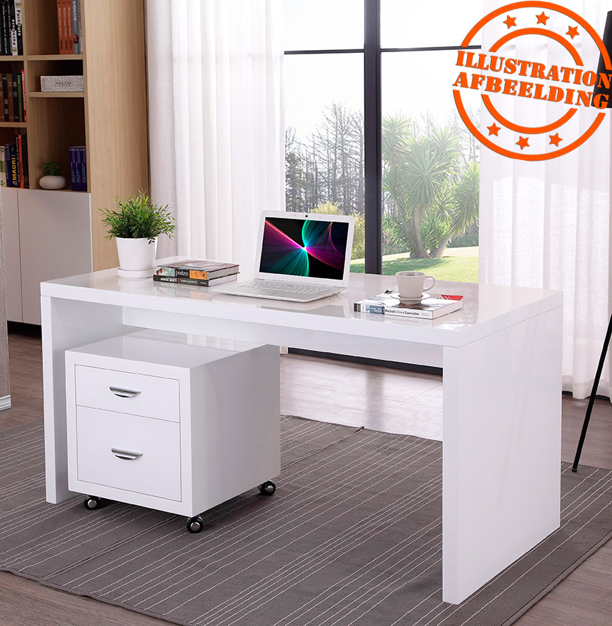 Recht design bureau polar in wit geverfd hout 150x70 cm for Bureau 150x70