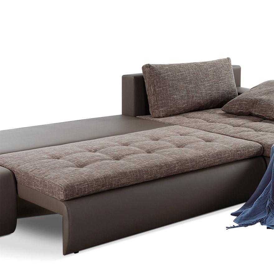 canap d 39 angle convertible polo brun en tissu et similicuir. Black Bedroom Furniture Sets. Home Design Ideas