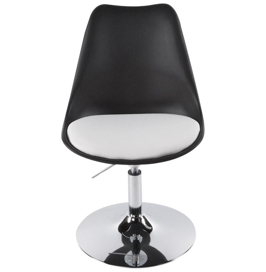 Chaise moderne pivotante ´QUEEN´ réglable noire et blanche
