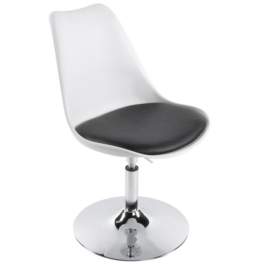 Chaise moderne pivotante QUEEN réglable blanche et noir