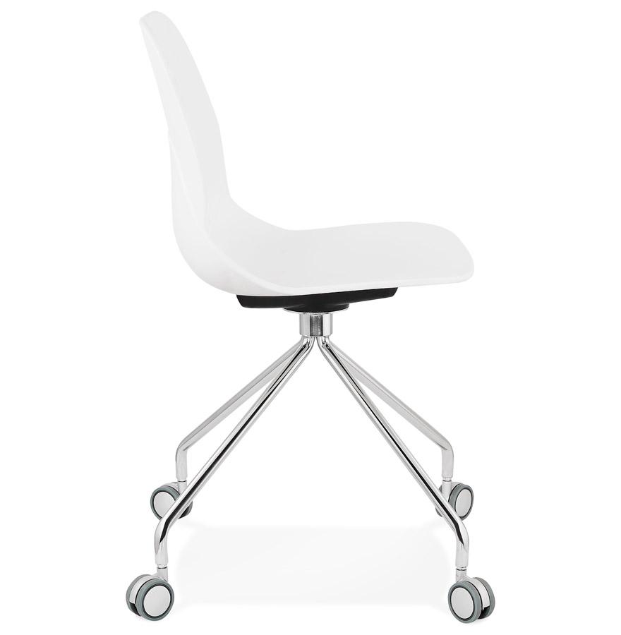 Chaise de bureau moderne ´RALLY´ blanche sur roulettes