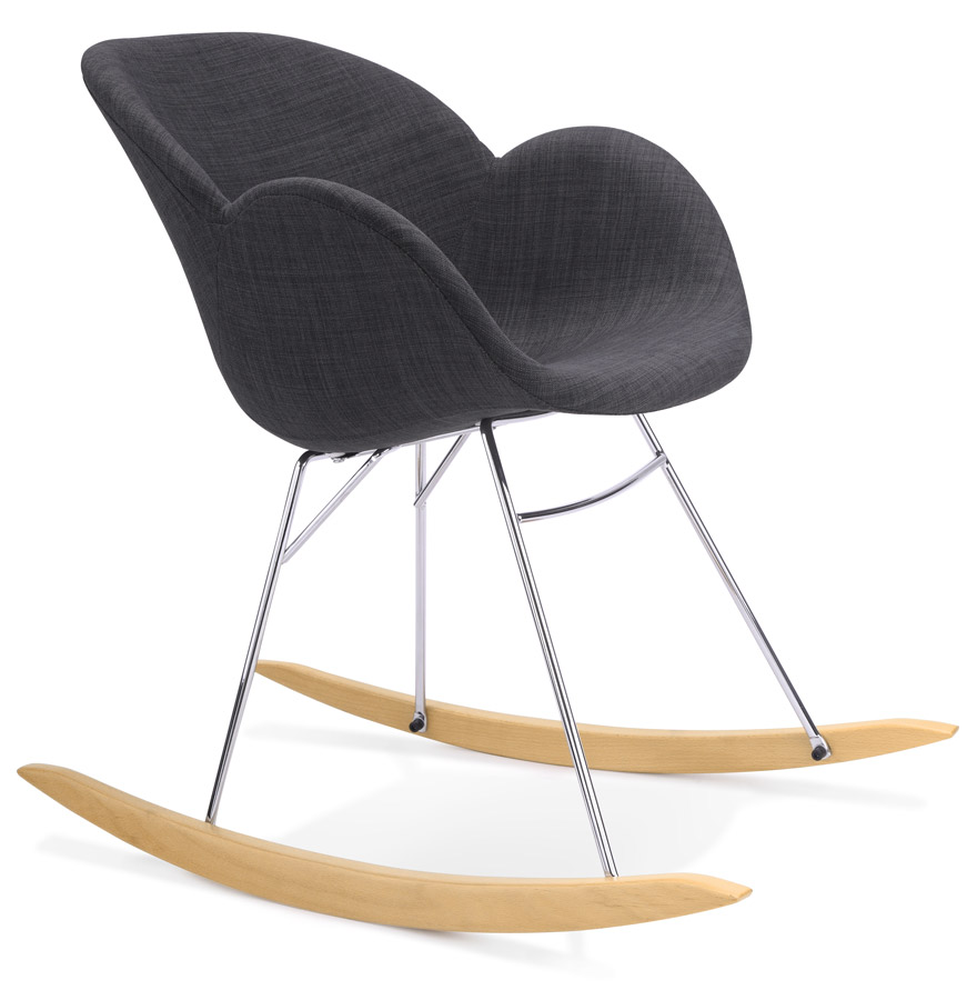 Chaise bascule rocky grise en tissu rocking chair design for Chaise a bascule design
