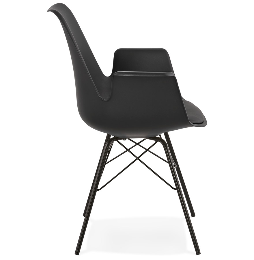 Chaise avec accoudoirs ´SALY´ noire style industriel