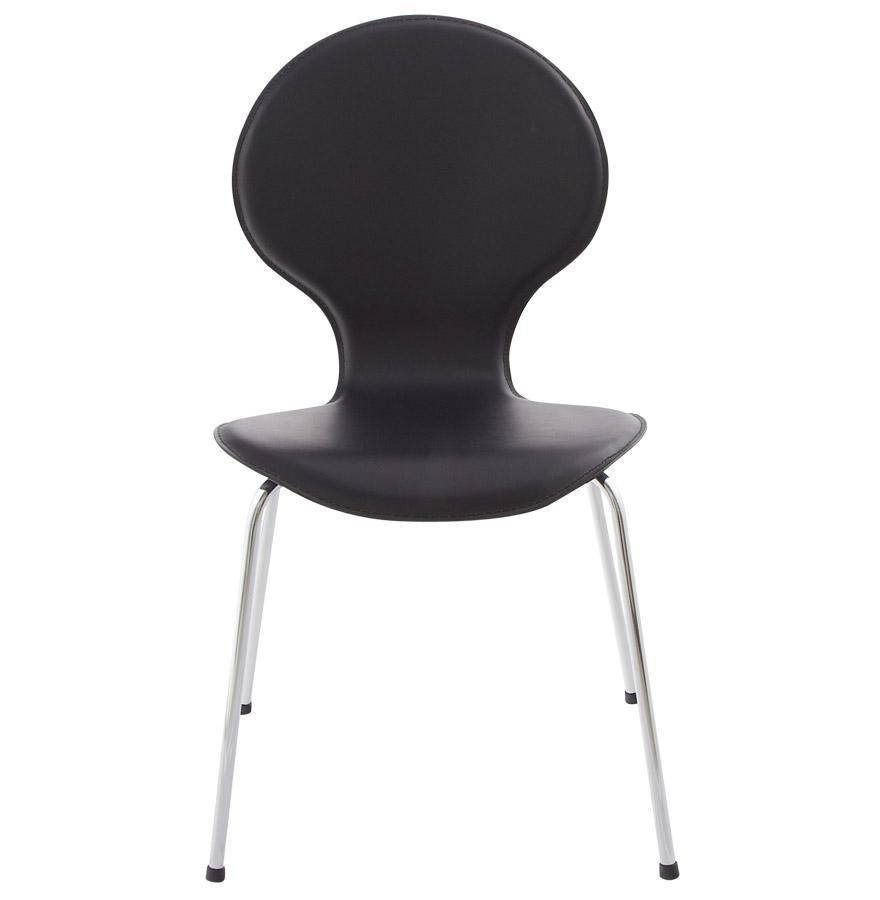 Chaise de cuisine samba en cuir synth tique noir chaise for Chaise de cuisine en cuir noir