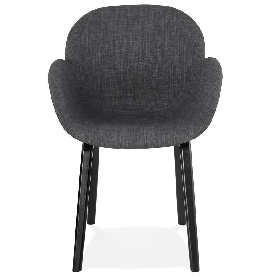 Chaise design avec accoudoirs ´SAMY´ en tissu gris et pieds en bois noir