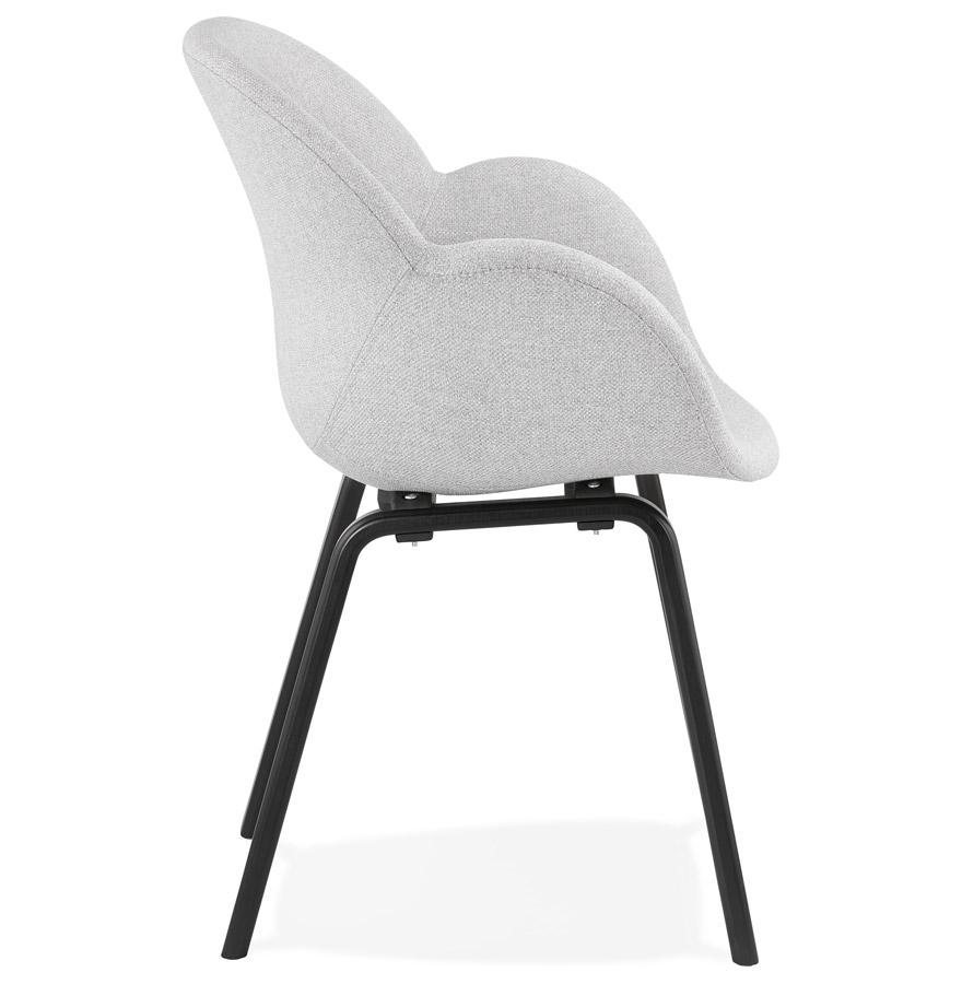 Chaise design avec accoudoirs ´SAMY´ en tissu gris clair et pieds en bois noir