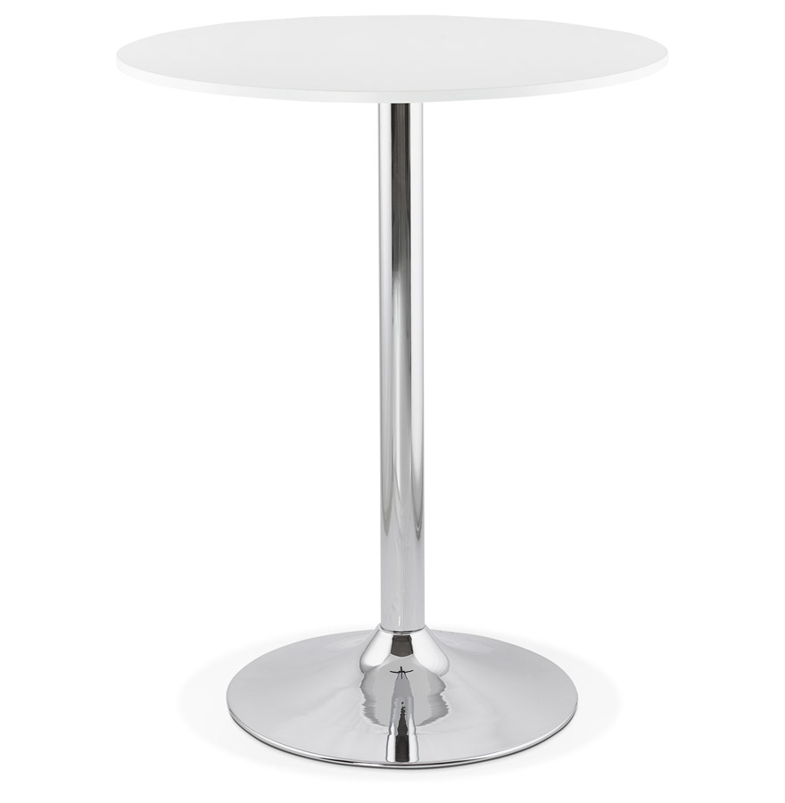 Mange debout santiago blanche 90 cm table haute design for Table haute bar blanche