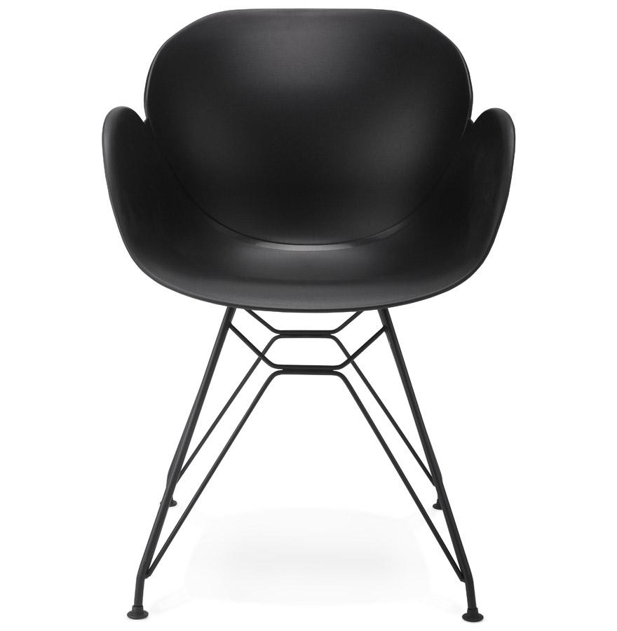 Chaise design ´SATELIT´ noire style industriel avec pieds en métal noir