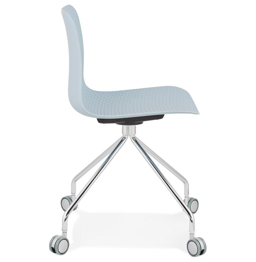 Chaise design de bureau ´SLIK´ bleue sur roulettes
