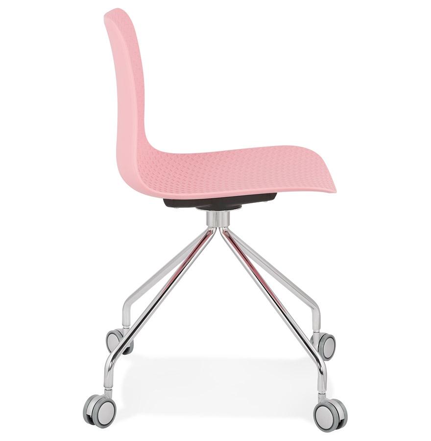 Chaise design de bureau ´SLIK´ rose sur roulettes