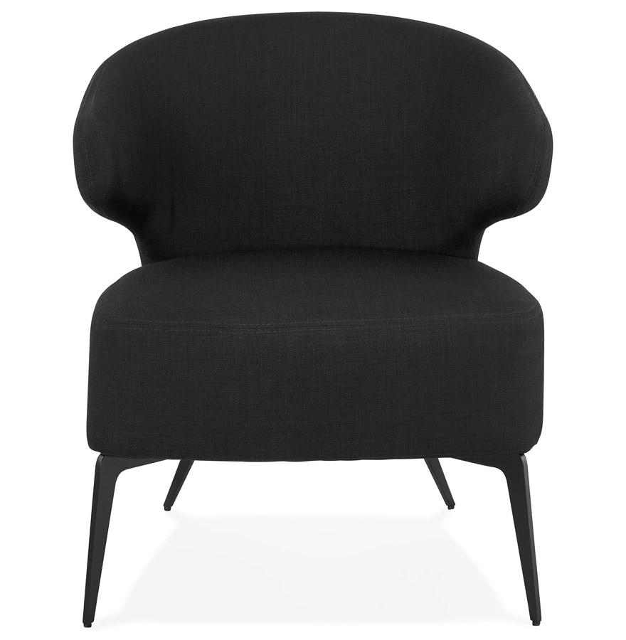 Fauteuil lounge design ´SOTO´ en tissu noir et pieds en métal noir
