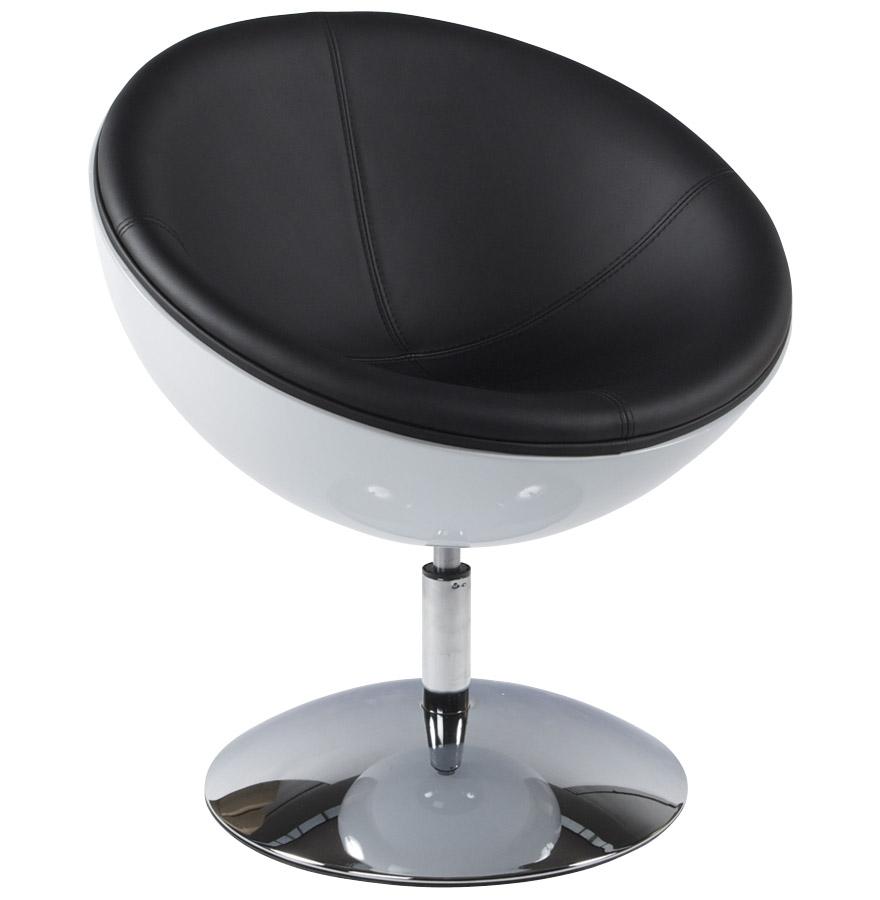 Fauteuil boule design SPHERA blanc et noir pivotant  360°