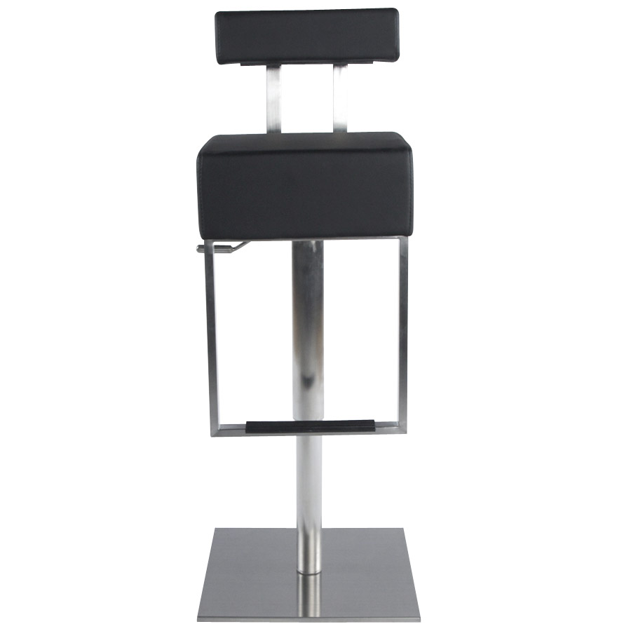 Tabouret de bar ´SPOON´ avec haut dossier en matière synthétique noire