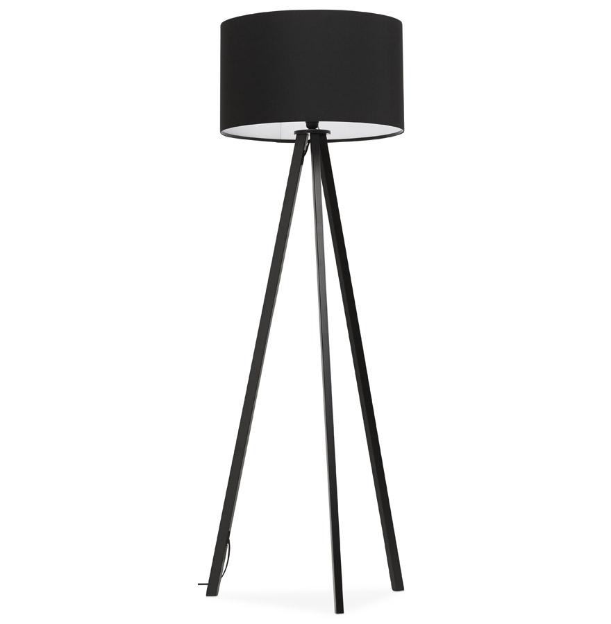 Lampadaire trépied ´SPRING´ avec abat-jour noir et 3 pieds noirs