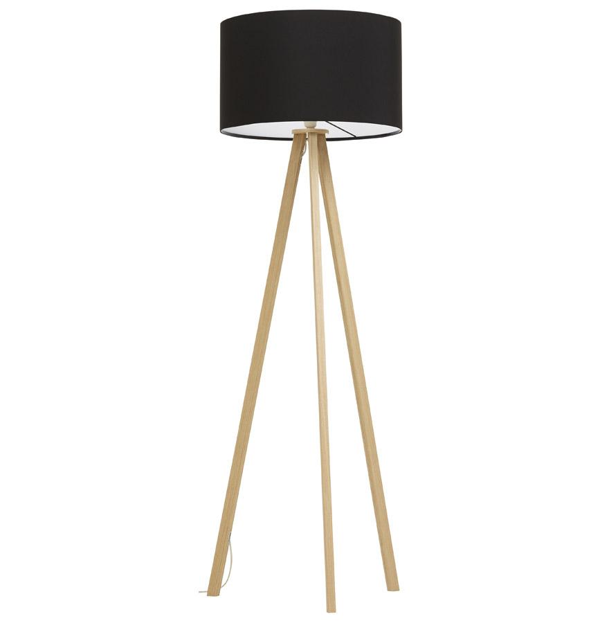 lampadaire tr pied spring noir et bois luminaire design. Black Bedroom Furniture Sets. Home Design Ideas