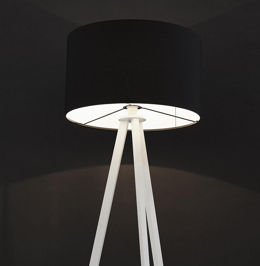 Lampadaire trépied ´SPRING´ avec abat-jour noir et 3 pieds blancs