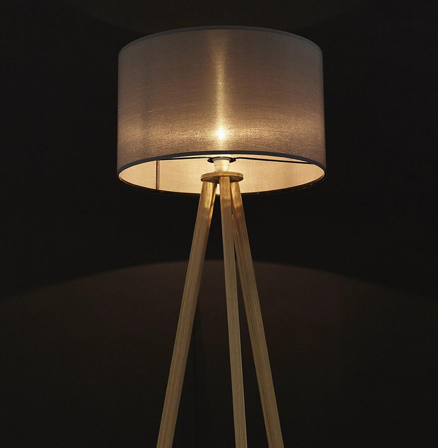 Lampadaire trépied ´SPRING´ avec abat-jour gris et 3 pieds naturels