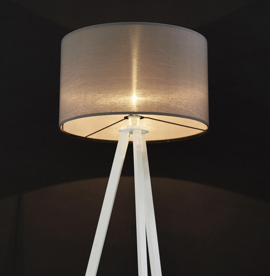 Lampadaire trépied ´SPRING´ avec abat-jour gris et 3 pieds blancs