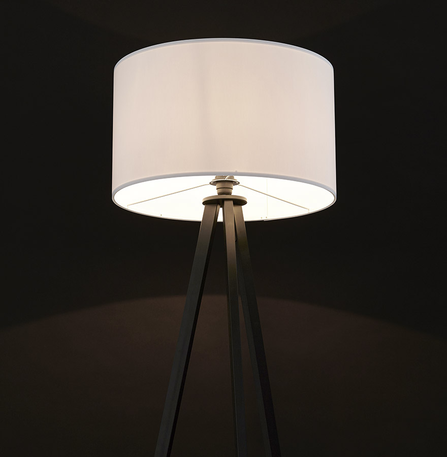 Lampadaire trépied ´SPRING´ avec abat-jour blanc et 3 pieds noirs