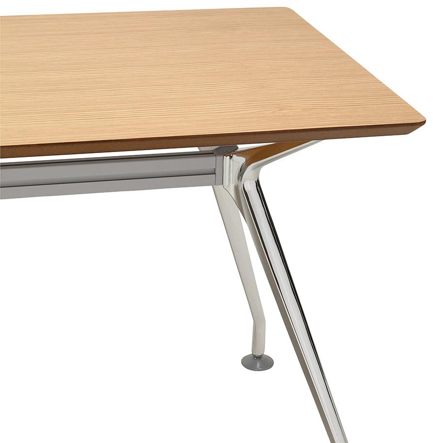 Bureau droit design station avec plateau en bois finition for Bureau 150x70