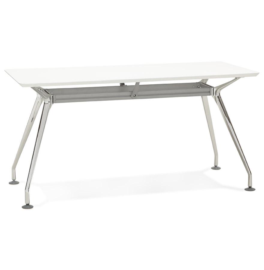 bureau droit design station avec plateau en bois blanc 150x70 cm. Black Bedroom Furniture Sets. Home Design Ideas