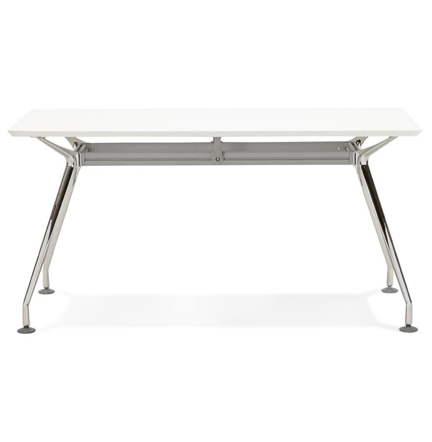 Bureau droit design station avec plateau en bois blanc for Bureau 150x70