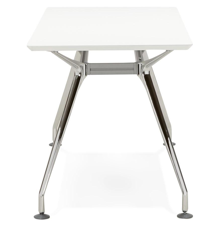 Bureau droit design ´STATION´ avec plateau en bois peint blanc - 150x70 cm