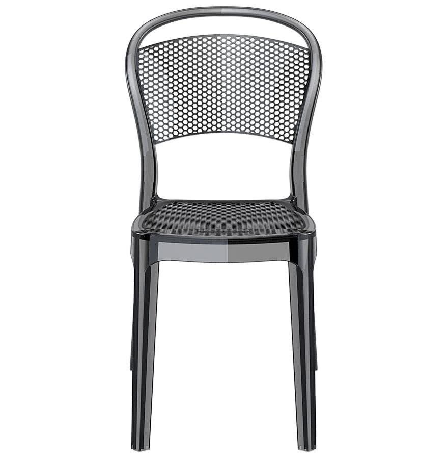chaise design storm chaise en mati re plastique noire transparente. Black Bedroom Furniture Sets. Home Design Ideas