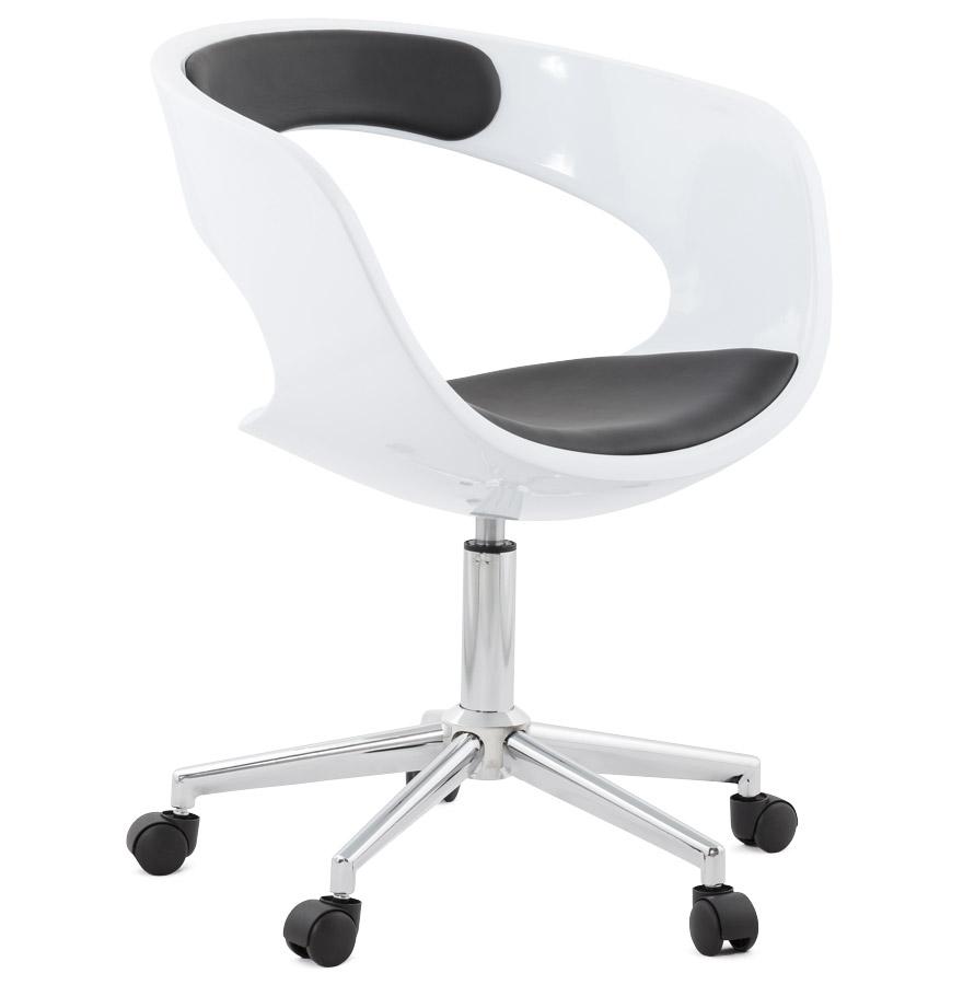 Chaise De Bureau Design STRATO Blanche Et Noire Sur Roulettes
