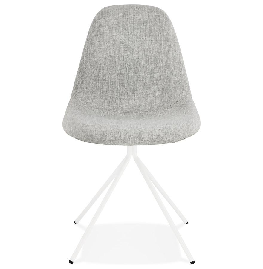 Chaise design ´TAMARA´ en tissu gris avec pied en métal blanc