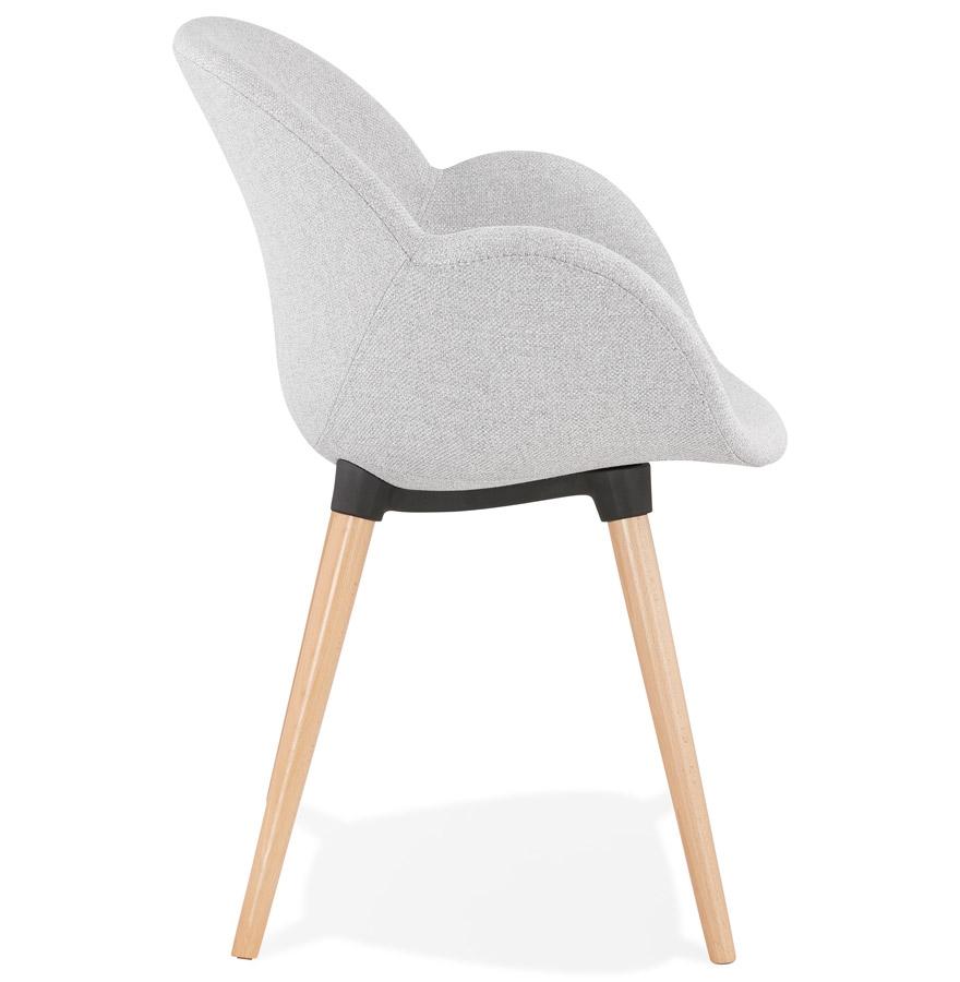 Chaise design scandinave ´TAPIOCA´ en tissu gris clair