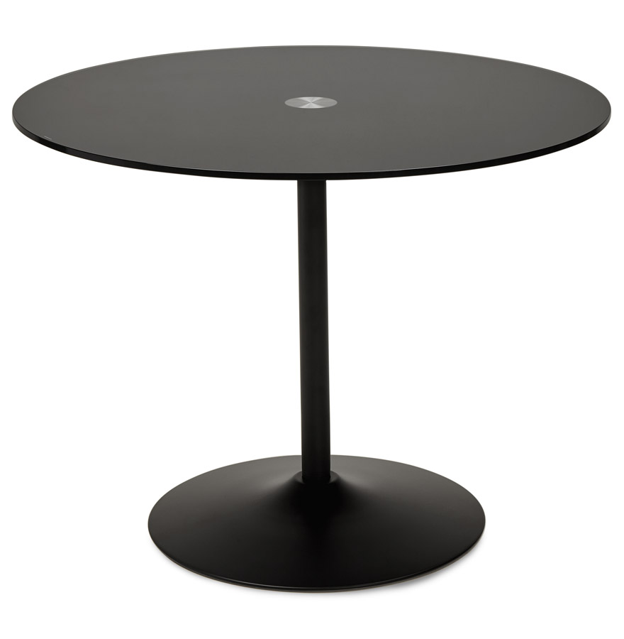 Table d ner ronde trobo noire table design en verre for Table ronde verre design