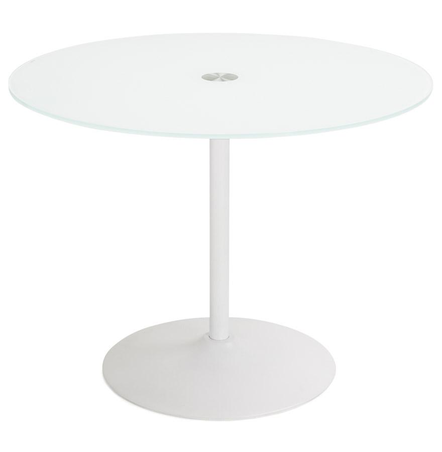 trobo white psd h3 01 - Table à dîner ronde ´TROBO´ blanche en verre - Ø 100 cm