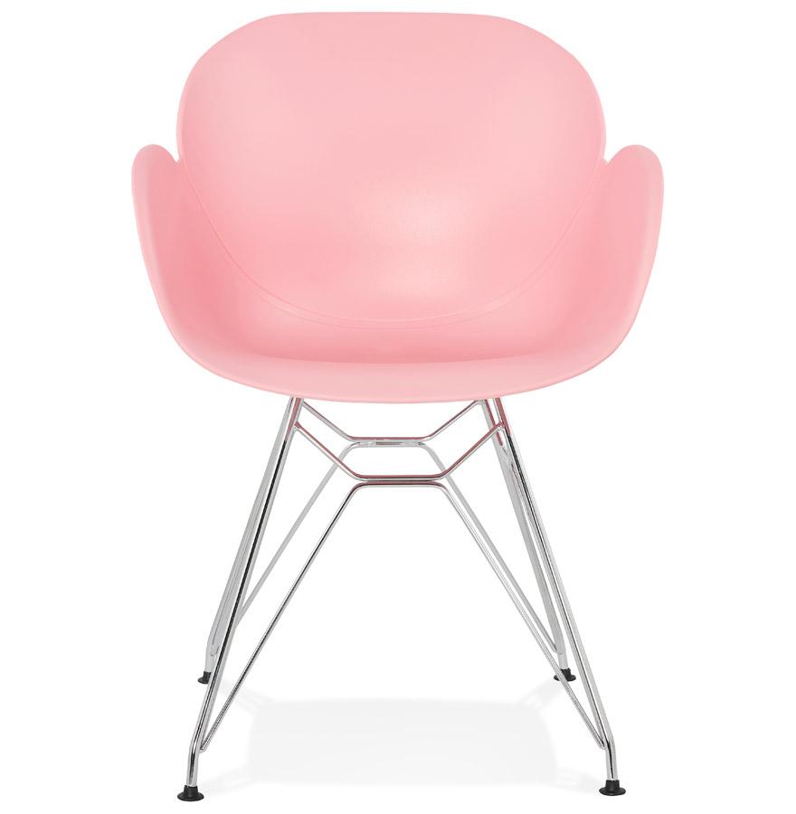 Chaise moderne ´UNAMI´ rose en matière plastique avec pieds en métal chromé