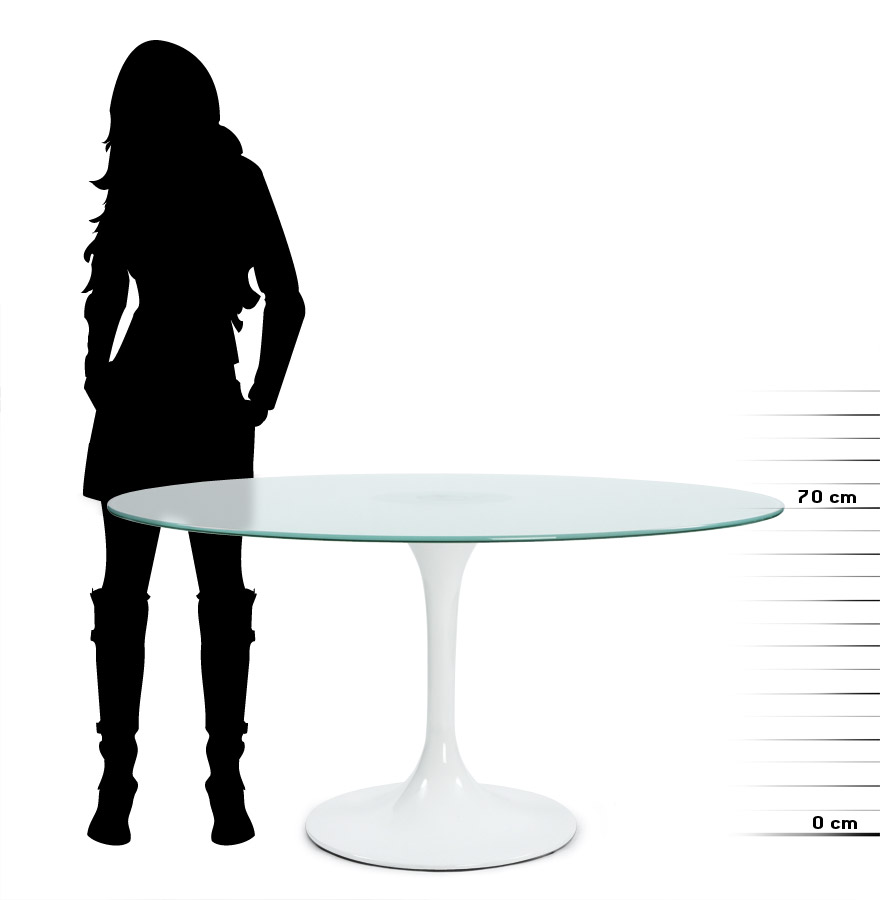 Table Ronde En Verre Pied Central.Table A Diner Ronde Monica En Verre Sable Design O 140 Cm