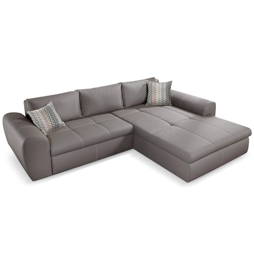canap d 39 angle convertible verso en similicuir taupe. Black Bedroom Furniture Sets. Home Design Ideas