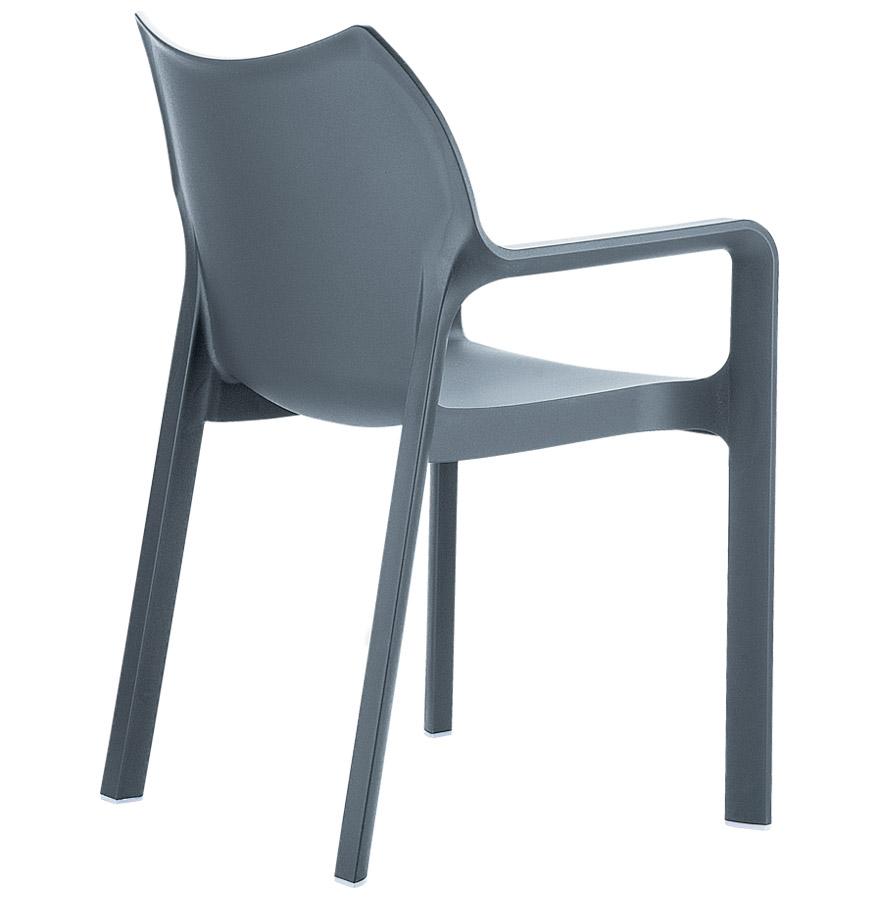 viva dark grey 01 1 - Chaise design de terrasse ´VIVA´ grise foncée en matière plastique