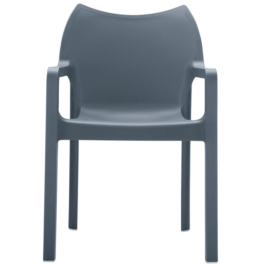 Chaise design de terrasse ´VIVA´ grise foncée en matière plastique