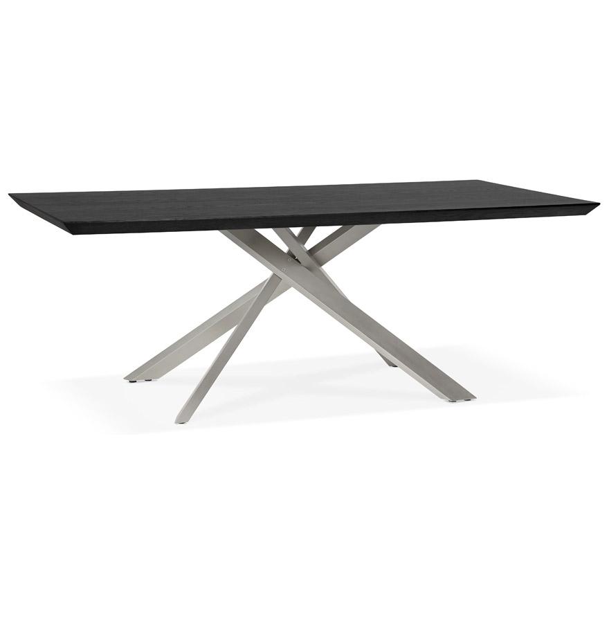 Table à manger design ´WALABY´ en bois noir avec pied central en métal - 200x100 cm