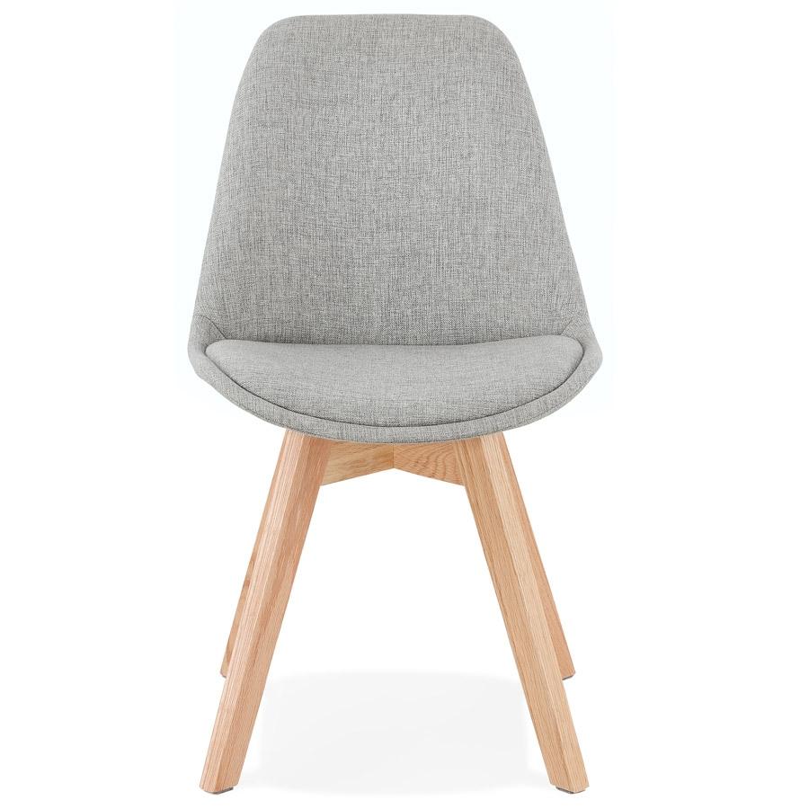 Chaise scandinave ´WILLY´ en tissu gris avec pieds en bois finition naturelle